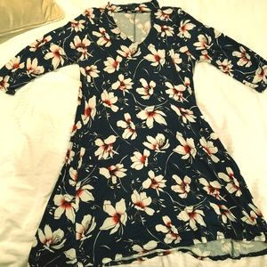 Blue Floral Dress with collared neckline